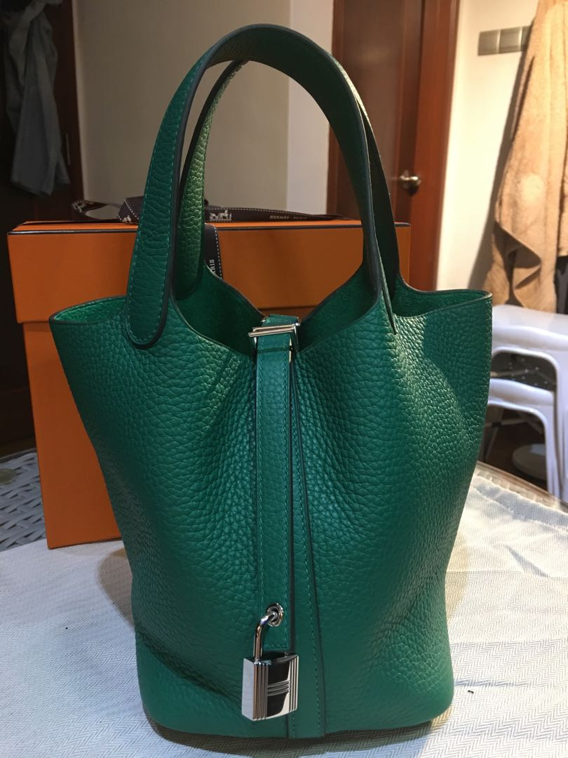 83896fda3e93 Rare green Hermes Picotin 18