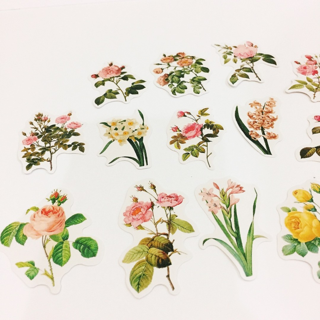 Set 43 16 pieces of vintage flower stickers reka bentuk kraf alat reka bentuk dan kraf di carousell