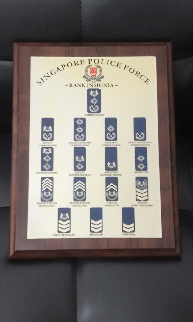Singapore Police Force Rank Insignia In Solid Wooden Frame