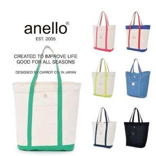 Anello big size Tote Bag Cotton Canvas with Detachable Pouch 大容量帆布手提肩背托特包