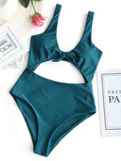 ZAFUL Bow Front Cut Out One Piece Swimsuit - Malachite Green