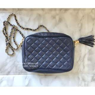 MADE IN KOREA Navy Quilted Chain Leather Chanel Style Handbag