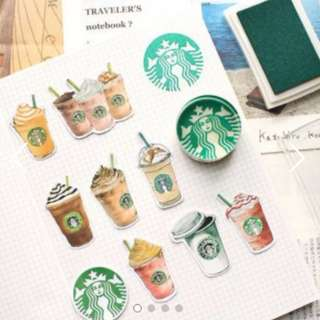 Starbuck Inspired Rubber Stamp + Sticker + Stamp pad