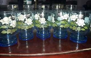Jual Gelas Jadoul Cantik dgn motif bunga tipis dan ringan ada 5pc