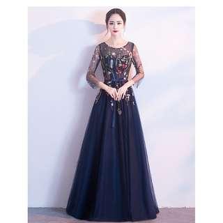 pre order Muslimah blue long sleeve prom wedding bridal dress gown  RBMWD0168