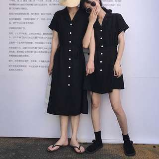 Buttoned Short Sleeves Dress Ulzzang