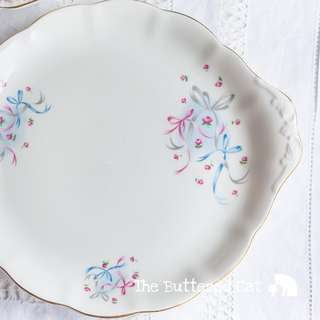 Pretty vintage pink and blue ribbon bow cake plate, vintage Royal Albert