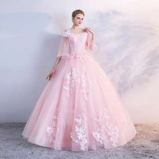 pre order pink off shoulder ball puffy prom wedding bridal dress gown  RB0633