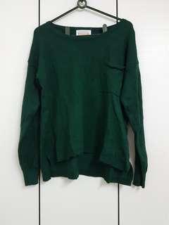 🚚 Starkiki 綠色前短後長口袋薄毛衣