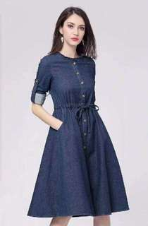 Casual denim dress 💰450  🌷Soft denim 🌷🆓size fits up to large *sd