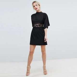 PO - Black lace floral waist dress