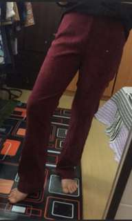 Preloved Maroon Velvet Straight Cut Pants