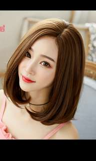 'Preorder' korean fluffy middle length straight ladies wig with real hair line scalp * waiting time 15 days after payment is made * chat to buy to order