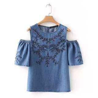 Europe and the United States wind 2018 summer new women's fashion wild Slim thin cut embroidery denim strapless TOP