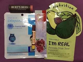 Authentic Burt's Bees + Facial Masks Bundle