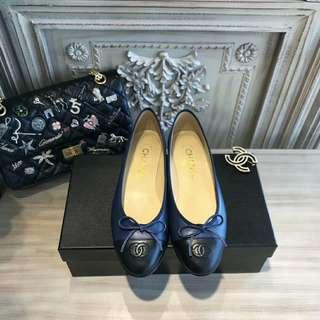 香港代購 Chanel 芭蕾舞鞋 藍黑