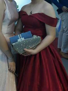 Ruby Red Gown for Rent (with petticoat)