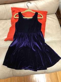 American Apparel 絲絨女童連身裙 Girl's purple velvet dress (Size 2)