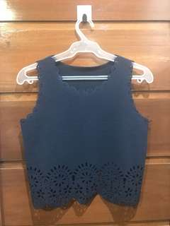 Sleeveless Cropped Top - Navy Blue