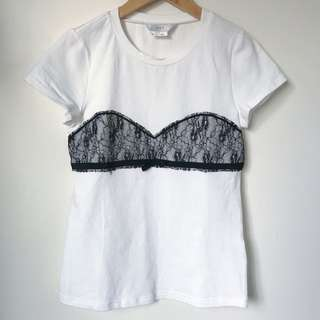 Made in Korea lace tee size XS