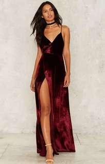 Velvet High Slit Dress