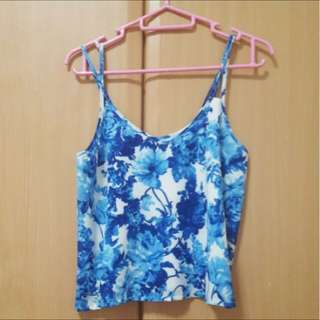 The Editor's Market TEM Blue Floral Spaghetti Top