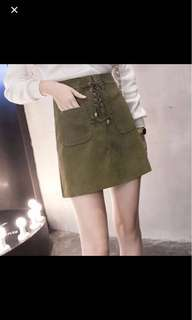 OLIVE GREEN SUEDE CROSS PLAID SKIRT