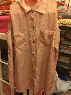 🚚 Queenshop 七分袖長袖粉紅色滑面挖肩襯衫上衣