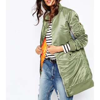 Green long bomber jacket
