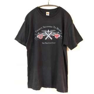 🚚 樂團t shirt 「30秒上火星 」黑 短袖 箭頭 5月