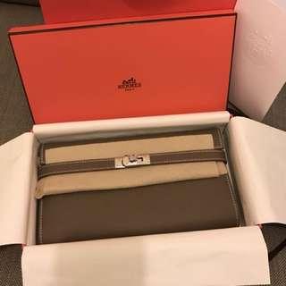 Hermes Kelly Classique Veau Epsom 18 Etoupe Wallet