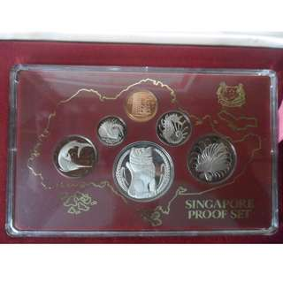 1982 Singapore 1 cent - $1 Proof coin set. ($1 Silver Proof Coin)