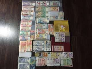Orchid/ Bird/ Ship series old notes including SG50 folder, Brunei and Singapore 50th Commemorative folders and misc notes with special numbers/ $2 millennium notes