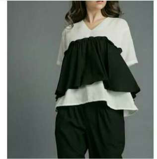 Shoptalene Ruffle Black Blouse