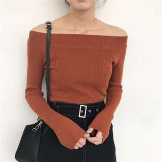 Orange Boatneck/Off The Shoulder Top