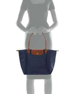 Longchamp Le Pliage large tote in navy blue