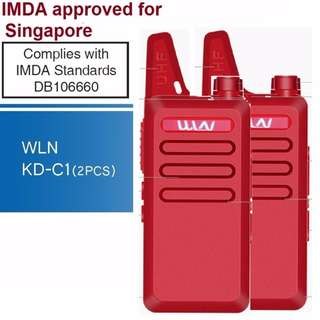 IMDA approved, 2 pcs (1 pair) New model, military grade! WLN KD-C1 Mini UHF 400-470 MHz Handheld Transceiver Two Way Ham Radio HF Communicator Walkie Talkie RED