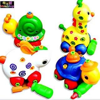 【牛舖】拆裝玩具 DIY動物拚裝長頸鹿兔子烏龜蝸牛 可拆卸組裝拼裝螺絲螺母玩具 益智拆裝可愛動物車 兒童寶寶培養動手能力
