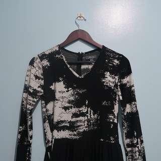 For Me Long Sleeved Dress with Asymmetrical Skirt