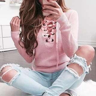 Peach knit sweater