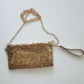 NEW Gold Sequined Clutch
