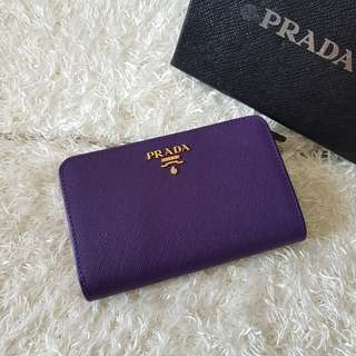 Authentic Prada Saffiano Leather French Wallet with Zip Coin