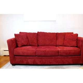ultrasuede red sofa/couch-vacuumed  clean $455 (original: $1600)