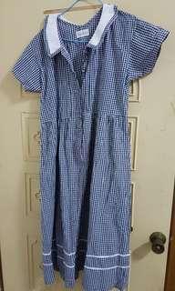 鳥樹 藍白格可愛領古著洋裝