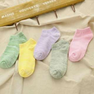 (5雙)馬卡龍船型襪 星星圖案襪子 星星 襪子