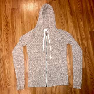 Thin grey zip-up hoodie