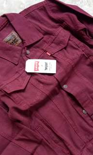 Oversize Jaket Jeans Maroon