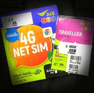 泰國AIS 7/8日4G無限電話卡 上網卡
