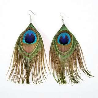 Dangle earrings anting bulu merak