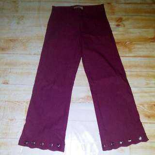 Celana Hw Maroon Cutbray Pants Kulot Highwaist